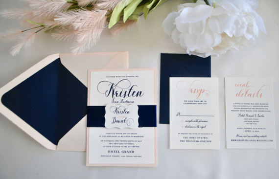 These navy and pink flat invitations are perfect - and glamorous!