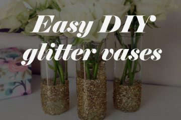 diy glitter vases project weddingfor1000.com