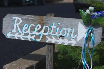 vintage wedding reception sign