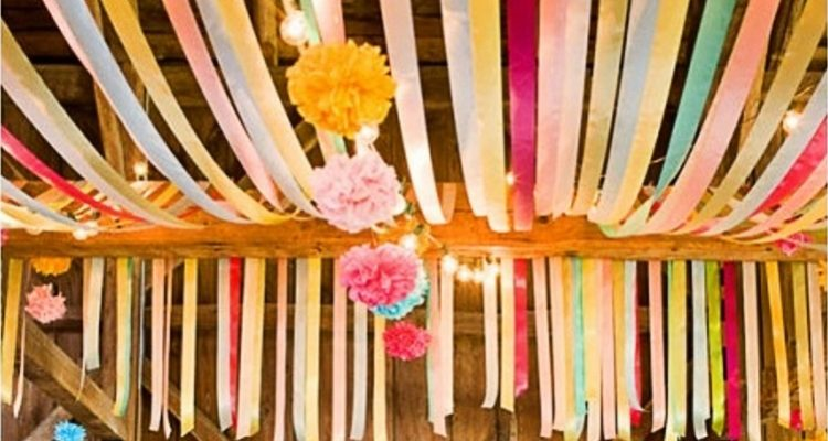Want to beautiful your wedding on a budget? Check out our ideas for using flagging tape! weddingfor1000.com