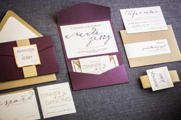 Modern plum and gold wedding invitations on Etsy